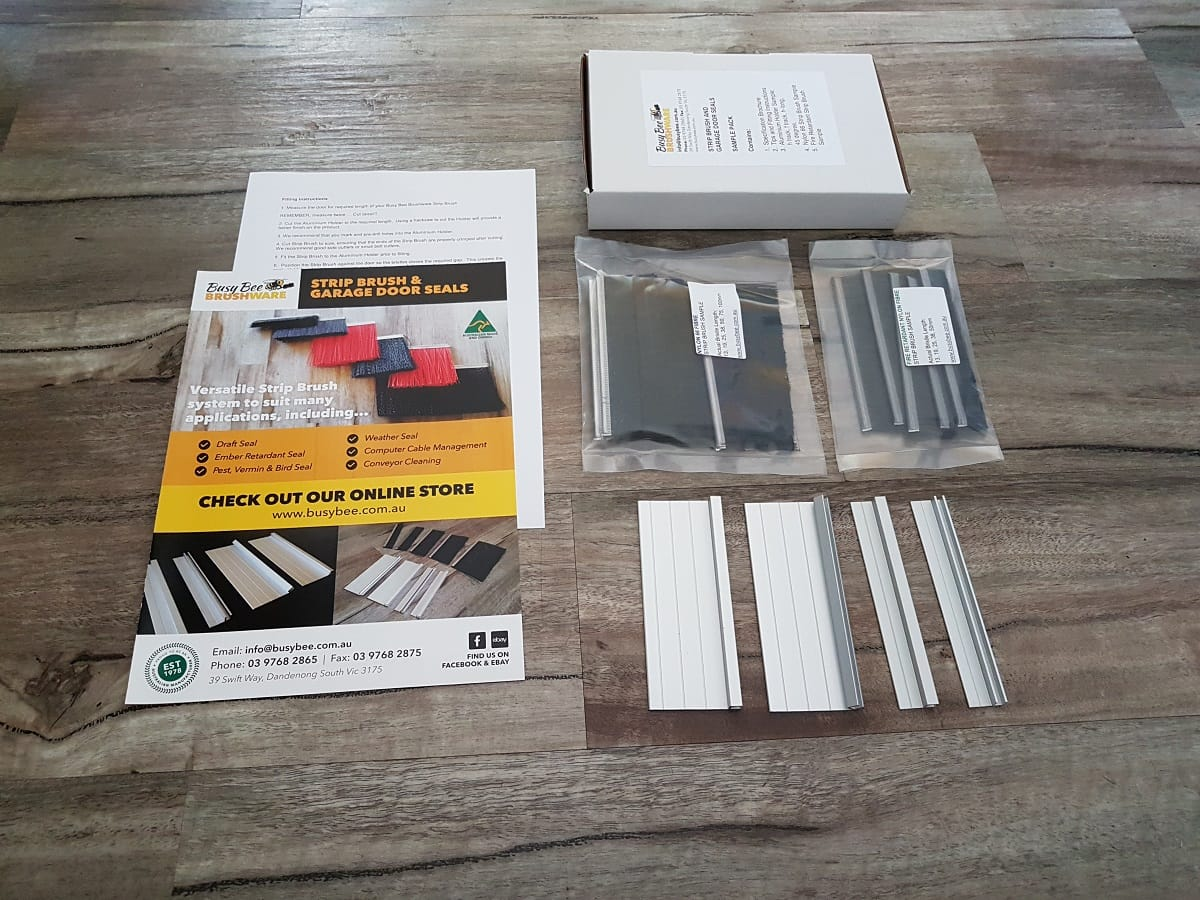 Residential garage door brush seals sample pack try before you busy bee brushware strip brush and garage door seals sample rubansaba